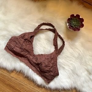 AERIE | PINK LACY COTTON-LINED BRALETTE